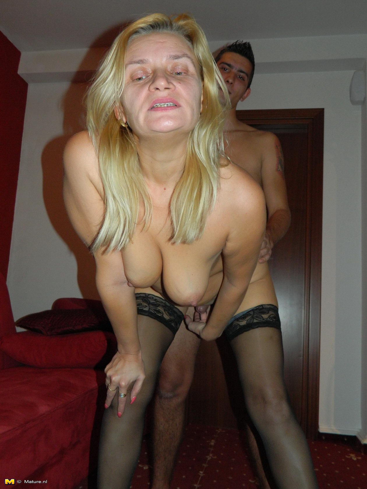 Casually Naked old blonde teacher